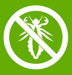 No louse sign icon green vector