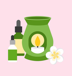 Oil burner with flower and bottle vector