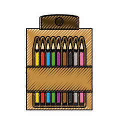 Pencil colors packaging vector