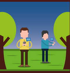 People using smartphone for texting messages each vector