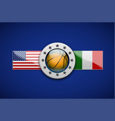 Premium basketball label with team flag vector
