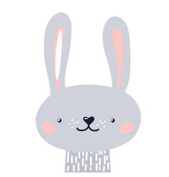 rabbit cute animal baby face vector image