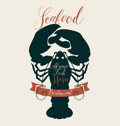 seafood menu for a restaurant or shop with lobster vector image