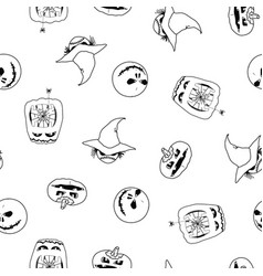 seamless pattern of halloween pumpkins ghost vector image