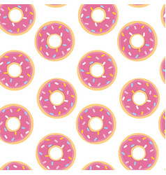 seamless pattern with doughnut in flat style vector image
