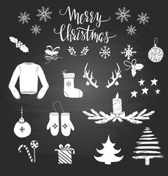 set christmas elements on blackboard vector image