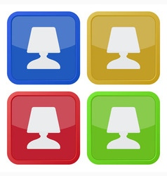 Set of four square icons with bedside table lamp vector