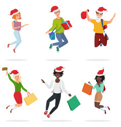 set of happy young multi ethic people jumping vector image