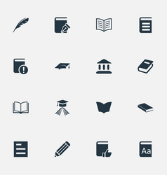 set of simple education icons vector image