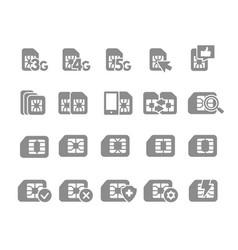 set sim card flat gray icons 3g 4g 5g vector image