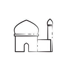 Single tower outline mosque custom graphic design vector
