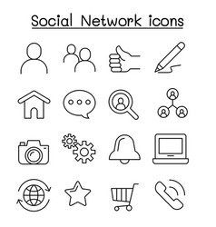 social network icon set in thin line style vector image