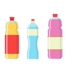 Soda plastic bottle set icon vector