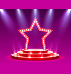 Star podium with lighting stage podium scene vector