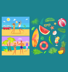 summer party by beach set vector image