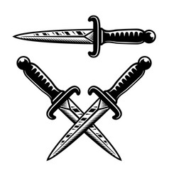 tattoo style occult knives set objects vector image