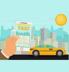 Taxi service smartphone city skyscrapers flat vector