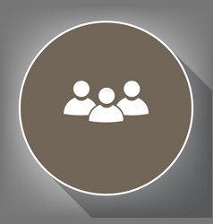 Team work sign white icon on brown circle vector
