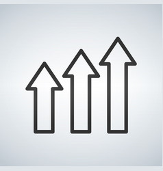 three arrows financial growth over white vector image