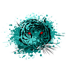 tiger eyes mascot graphic in white background vector image