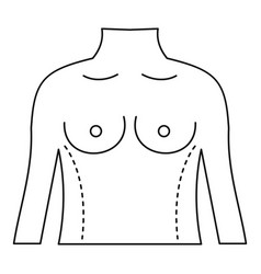 Torso marked with lines for correction icon vector