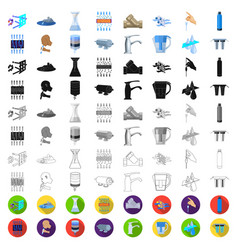 water filtration system cartoon icons in set vector image