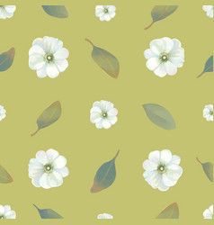Watercolor floral seamless pattern with white vector