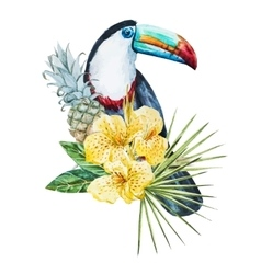 Watercolor flowers with toucan vector