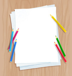 white paper on with color pencils vector image