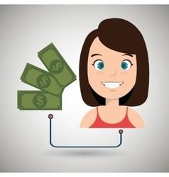 Woman cartoon bag money dollar vector