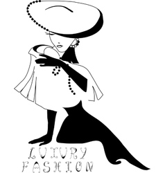 Woman vintage silhouette vector image