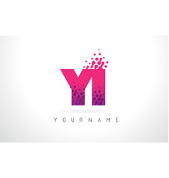 Yi y i letter logo with pink purple color and vector