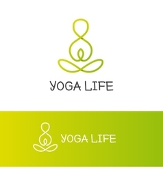 yoga logotype in trendy overlapping vector image