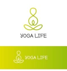 yoga logotype in trendy overlapping vector image
