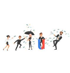 cartoon business men women and money vector image
