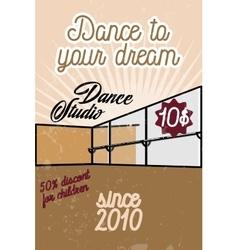 Color vintage dance studio banner vector image