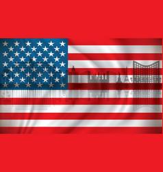 flag of usa with las vegas skyline vector image