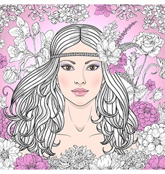 girl hippie outline color vector image vector image
