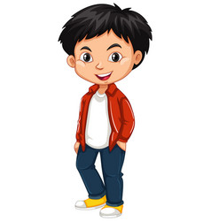 little boy in red shirt and jeans vector image vector image