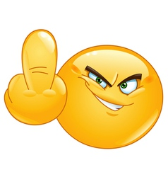 middle finger emoticon vector image vector image