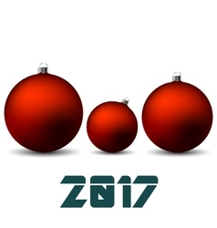 Red christmas balls isolated on white background vector image