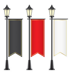 set of royal flags hanging on lamposts vector image vector image