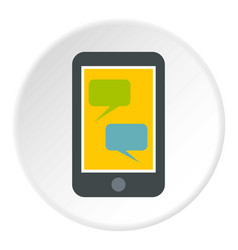 speech bubble on phone icon circle vector image vector image