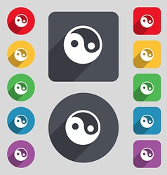 Ying yang icon sign A set of 12 colored buttons vector image