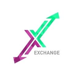 Arrow x logo design vector