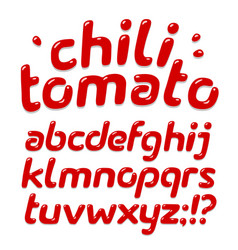 red ketchup alphabet vector image vector image