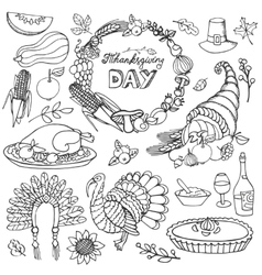 Thanksgiving day doodle iconswreathLinear set vector image