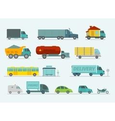 Transportation set Trucks end bus passenger cars vector image vector image