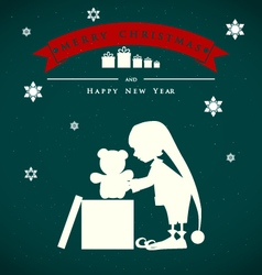 Vintage christmas card with cute elf and gift bear vector image vector image