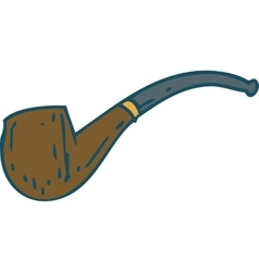 Brown smoking pipe vector